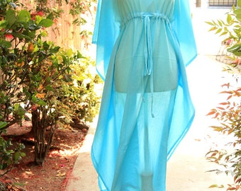 Caftan Maxi Dress - Beach Cover Up - Kaftan - Muumuu - Blue