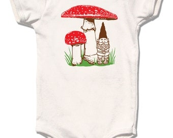 Gnome Onesie, Organic Baby Clothes, Gnome Mushroom Bodysuit, natural cream short sleeve, spring summer woodland design, baby boy baby girl