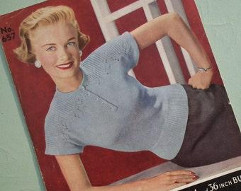 Vintage Knitting Pattern 1940s 1950s Womens Sweater / Jumper 40s 50s original knitting pattern Bairns-Wear 657