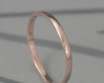 Solid 14K Gold 2mm wide Plain Jane Half Round Band--YOUR Choice of 14K Rose Gold, White Gold, or Yellow Gold