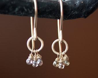 Champagne Diamond Cluster Earrings