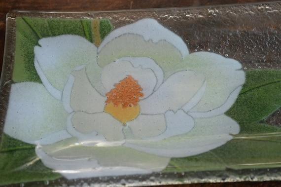 Peggy Karr Glass Art Glass Plate Magnolia Flower Dish