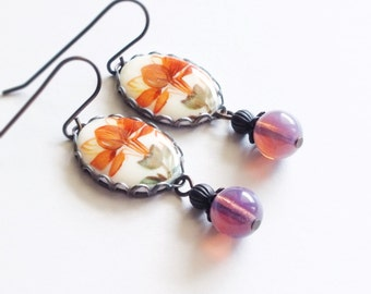 Orange Flower Dangle Earrings Vintage Flower Cameo Floral Cameo Earrings Orange Purple Jewelry Colorful Summer Flower Jewelery
