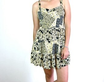 Yellow, Black & White Patterned 80's Dress