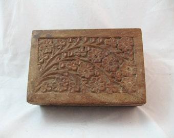 Vintage hand carved wooden floral box
