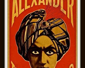 "ALEXANDER  ""The Man Who Knows"" Playbill Poster circa 1920 - Hypnotic Eyes ~ Giclee Art Print"