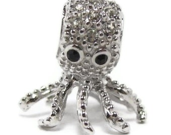 Bracelet Bead 925 Sterling Silver Octopus with Sparkling Cubic Zirconia