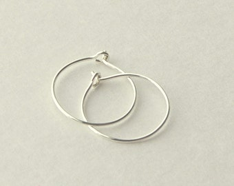 Mini Sterling Silver Hoop Earrings. Choose your size and gauge. PAIR Solid 925