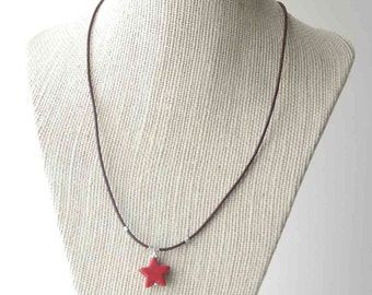 Star Necklace. Red Magnesite, Howlite, Rustic Brown Leather and Solid 925 Sterling Silver SALE