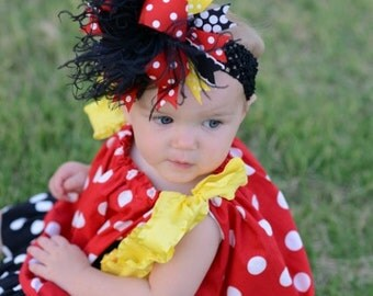 Red, Black, and Yellow Minnie Mouse Over The Top Funky Boutique Hair Bow on matching Headband Free Shipping On All Addional Items