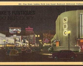 Hollywood, California Vintage Linen Postcard - Vine Street, Looking North from Sunset Boulevard (Unused)