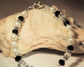 White and Black Pearl with AB Polished Crystal Bracelet, Pearl Bracelet, Wedding Jewelry, Gift under 20