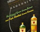 Vintage Instant Bright Kitchen Art.  Unused British Vintage Duckworth Lemon Extract/Lemon Essence Label