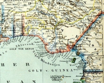 1895 Antique Map of Guinea - German map - TW13 110