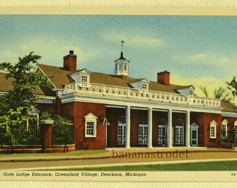 1940s Linen Postcard. Gate Lodge Entrance, Greenfield Village, Dearborn, Michigan
