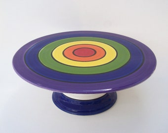 Cake Stand  Colorful Rainbow Delight - Ready to Ship