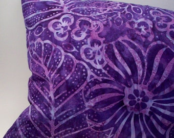 Lavender Buckwheat Neck Roll Throw Pillow - Purple Tropical Flower and Leaf Batik  - 13 1/2 inch X 8 1/2 inches - 32 cm X 21 cm  Home  Decor