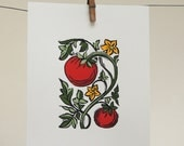 Tomato block print, with hand painted details, kitchen garden, home decor, original art, on recycled card stock