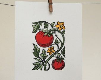 Tomato block print with hand painted details original kitchen gardening art botanical home decor on recycled card stock
