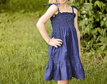 Navy and White Polka Dot Addie Jeanne Dress - Shirred top, tie strap, knee length ruffle dress