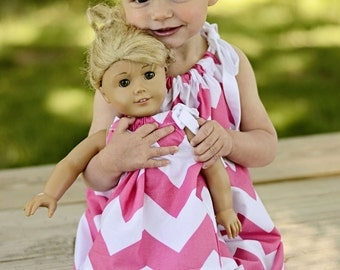 Boutique Chevron Pillowcase Dress with Matching Doll Dress