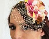 Fascinator, wedding hat, flower fascinator, birdcage  SECRET