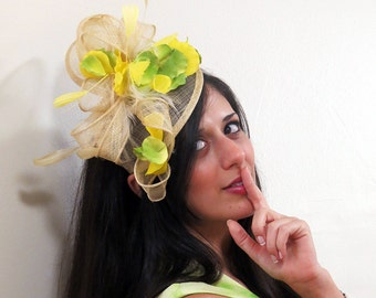 Kentucky Derby Fascinator hat yellow green  fascinator  yellow wedding hat STAVVY LIME