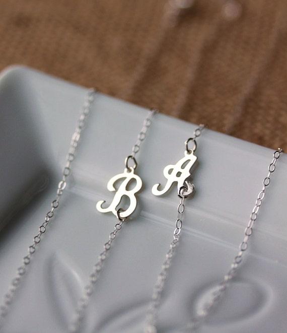 Initial Necklace Dainty Sideways Script Letter Necklace