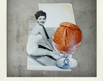 Vintage 1950s Ice Cream Parlor Display Piece - Bathing Beauty Chocolate Scoop