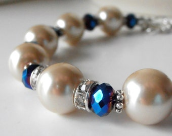Bridesmaid Bracelets Beige and Dark Blue Wedding Jewelry Pearl and Crystal Bridal Party Jewelry Beaded Bracelet Handmade