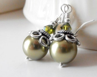 Olive Green Pearl Earrings Bridesmaid Earrings Beaded Jewelry Light Olive Wedding Jewelry Swarovski Elements Pearl Bridesmaid Jewelry Silver