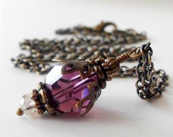 Plum Crystal Bridesmaid Jewelry, Swarovski Crystallized Elements Amethyst Crystal Vintage Style Beaded Pendant Necklace, Purple Wedding Set