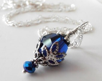 Sapphire Blue Crystal Pendant Necklace in Silver Swarovski Elements Faceted Crystal Necklace Dark Blue Bead Jewelry Gifts for Her Under 20