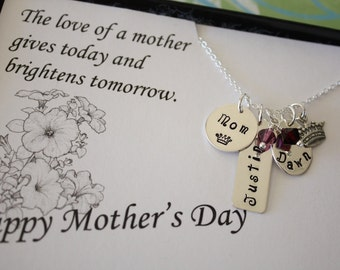 Mom Personalized Gift, Mother Necklace, Grandma Necklace, Mix Shapes, Grandma Gift, Mother's Day Card, Sterling Silver