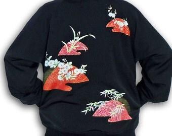 Full Zip Bomber Style Blouson Jacket - Black & Pink/ Japanese Kimono Recycled