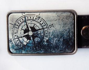 Nautical Compass Blue Belt Buckle