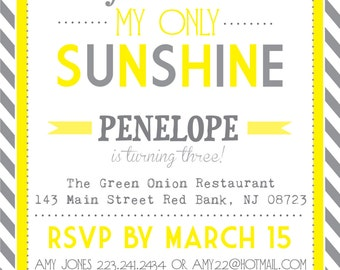 You Are My Sunshine Invites  - Print Your Own