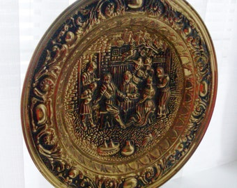 Large Brass Renaissance Scene Textured Tray