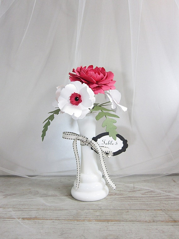 Paper Flower Bouquet Table Number with Milk Glass Vase