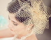 Gold Birdcage Veil With Pouf and Pearl