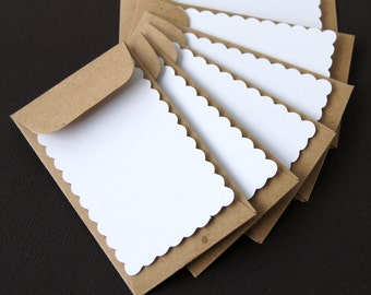 Mini Scallop Flat Cards with Kraft Envelopes . Set of 6