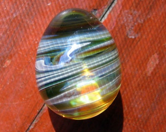 Twisted Magnifying Glass Quail Egg - Handblown Glass