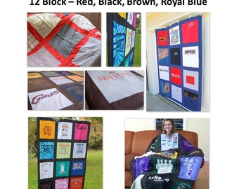 DIY Kit - T Shirt Quilt KIT- Blanket Kit - 12 Block - Red Black Brown Blue