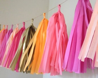 PINK LEMONADE / tissue paper tassel garland / nursery garland / wedding decorations / birthday party decorations / fringe banner / tassels