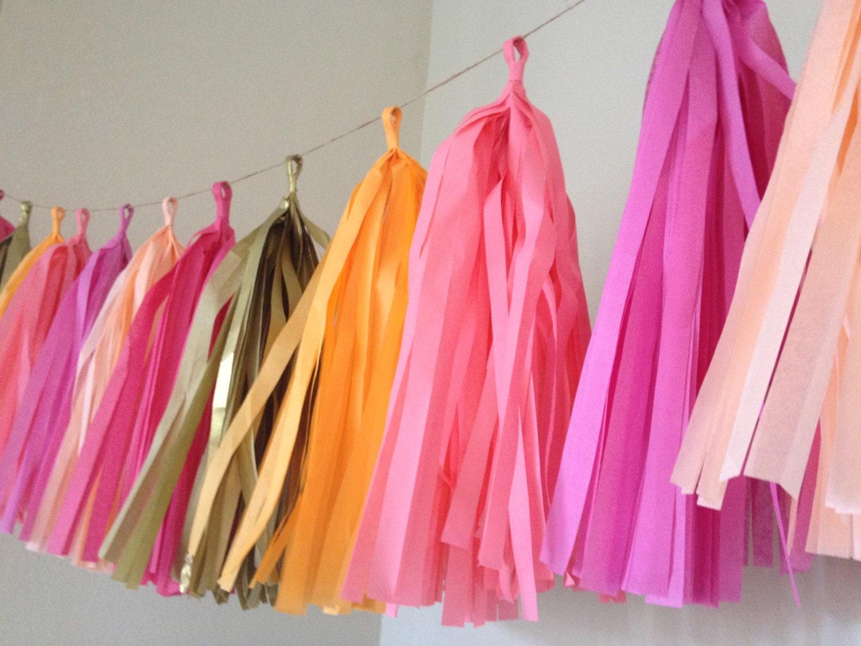 PINK LEMONADE / tissue paper tassel garland / nursery garland