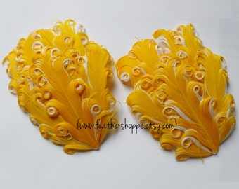 SET OF 2 - Yellow on White Nagorie Curled Goose Feather Pad - NEW Curlz Line