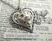 Lion Necklace Antiqued Silver Heart Necklace Lion Heart Pendant Feminine Steampunk Jewelry