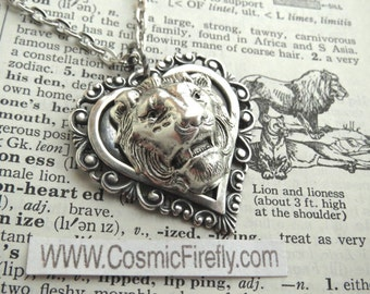 Lion Necklace Antiqued Silver Heart Necklace Lion Heart Pendant Feminine Steampunk Jewelry