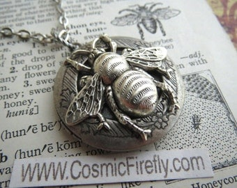 Silver Bee Locket Necklace Rustic Silver Plated Finish Gothic Victorian Vintage Inspired Antiqued Silver Bee Jewelry