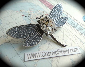 Steampunk Pin Brooch Dragonfly Pin Gothic Victorian Antiqued Silver Dragonfly Brooch Tiny Vintage Watch Movement Art Nouveau SEIKO Japan